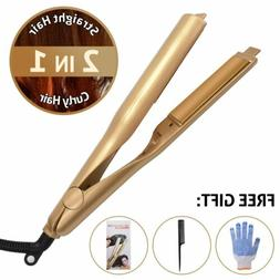2 In1 Curling Iron Hair Straightener Salon Curler Pro Curlin