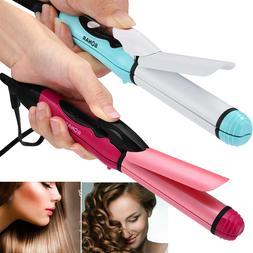 2in1 Hair Curling Iron Straightener & Curler Travel Ceramic