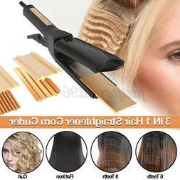 3 In 1 Hair Straightener Corn Curler Curling Iron Ceramic Ha