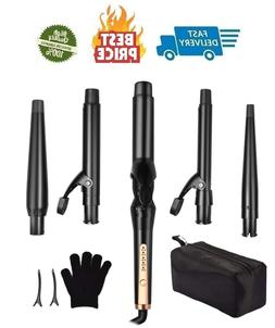 5 In 1 Curling Iron Wand Set 0.5-1.25 Inch 5 Interchangeable