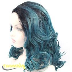 Riglamour Dark Blue Green Women Wigs Medium Length Ombre Hai