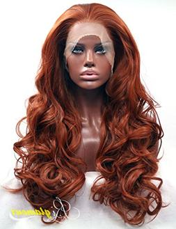 Riglamour Deep Copper Red Lace Front Wig Long Wavy Fiber Hai