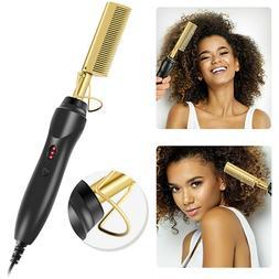Electric Beard Hair Straightener Brush Comb Hot Tools Flat C