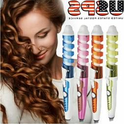 Electric Hair Curler Spiral Curling Iron Wand Roller Wave Cu
