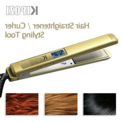 Gold KIPOZI Titanium Flat Iron Straighteners Curling All Hai