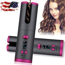 Hair Waver Curling Iron Portable LCD Display Cordless Hair A