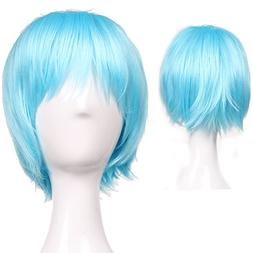 S-noilite Women Men Hair Wig Short Straight Cospaly Anime Pa