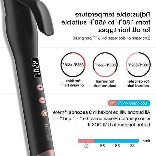 KIPOZI 1 Curling Iron and Insulated Tip,180°F to 450°F Types of Hair,Dual Heat Resistant