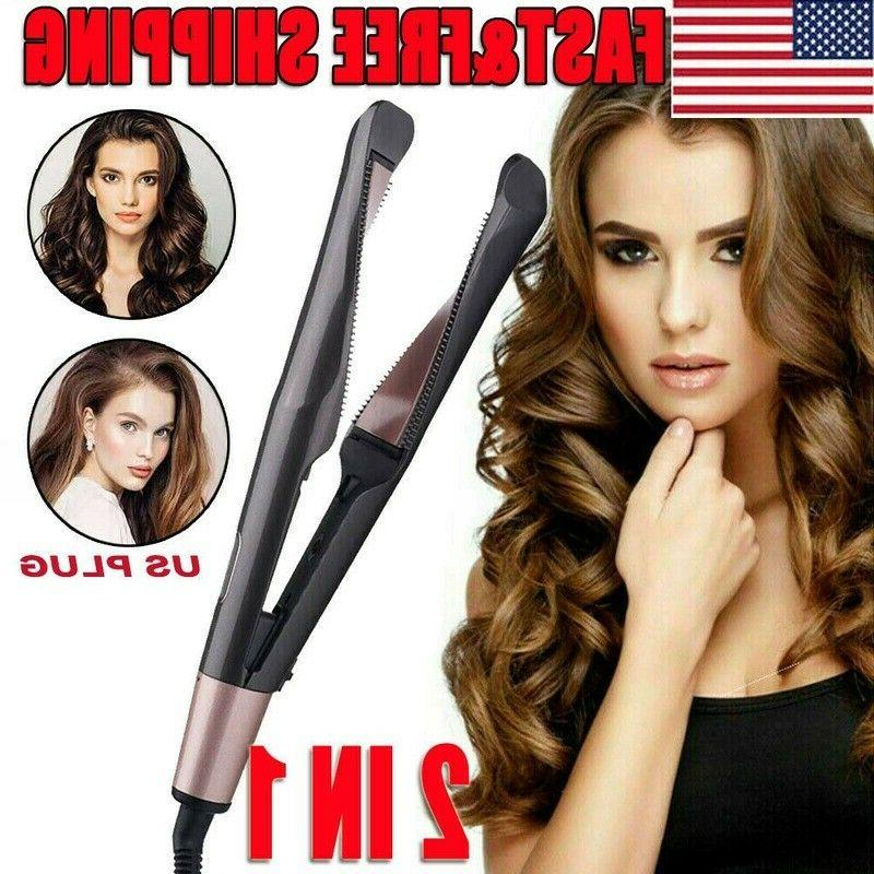 2 in 1 hair curler straightener professional