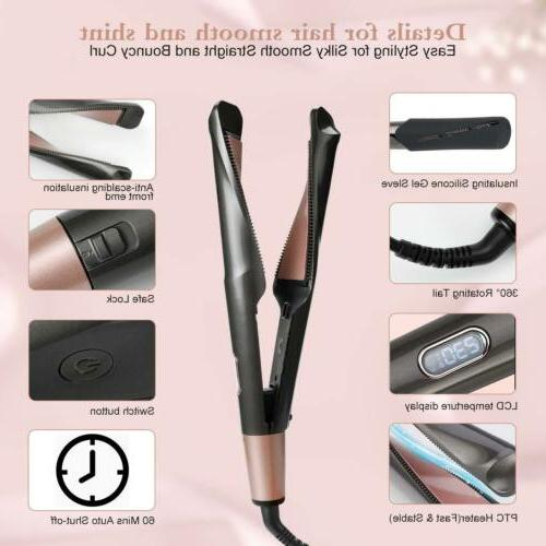 2 Iron Hair Straightener PRO Curling Style US Plug