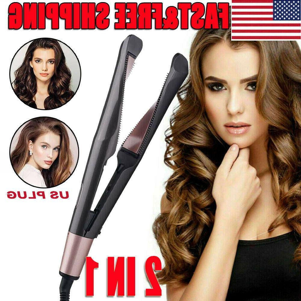 2 in1 curling iron hair straightener salon