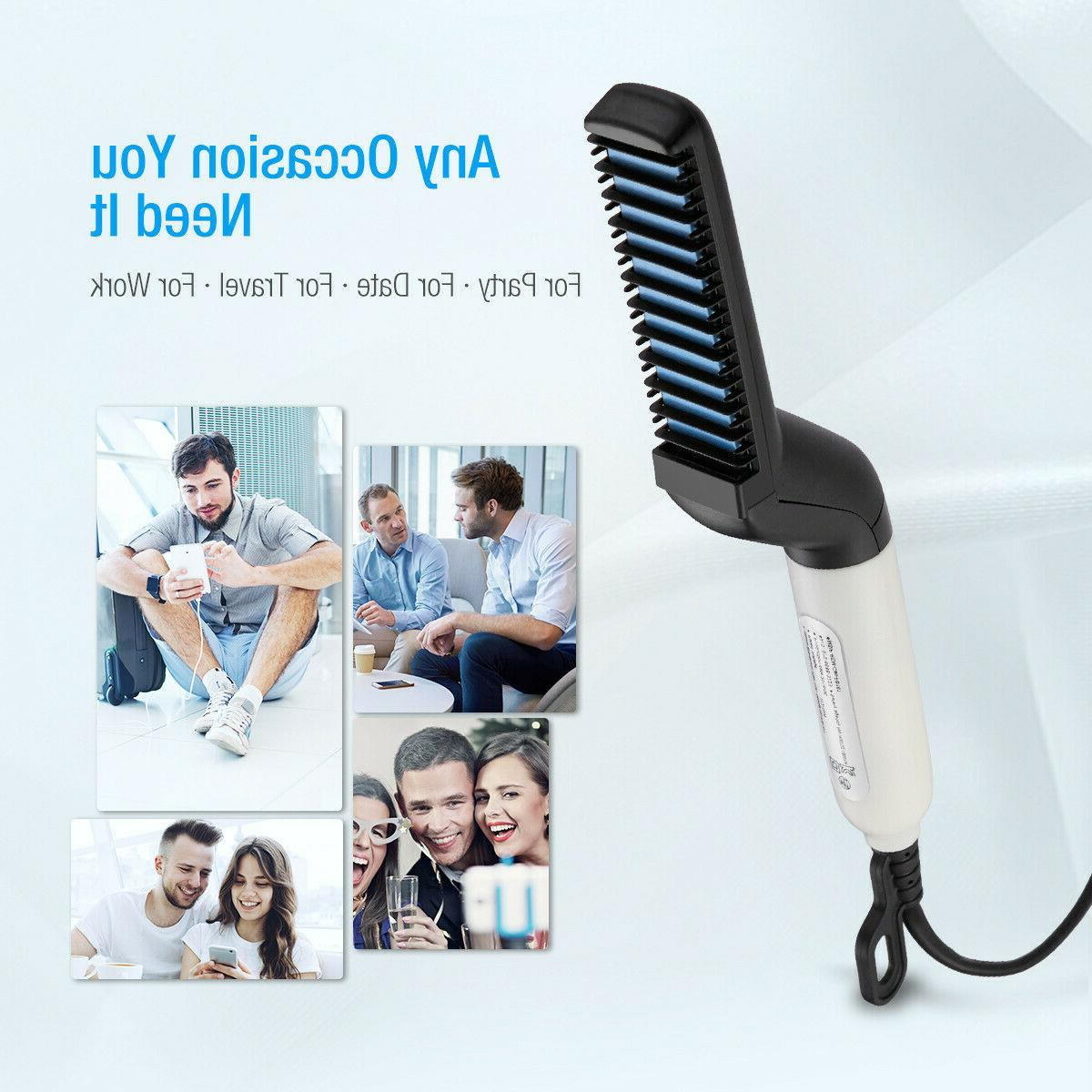 Multifunctional Straightener For Men Comb Curling Electric Brush Beard Comb