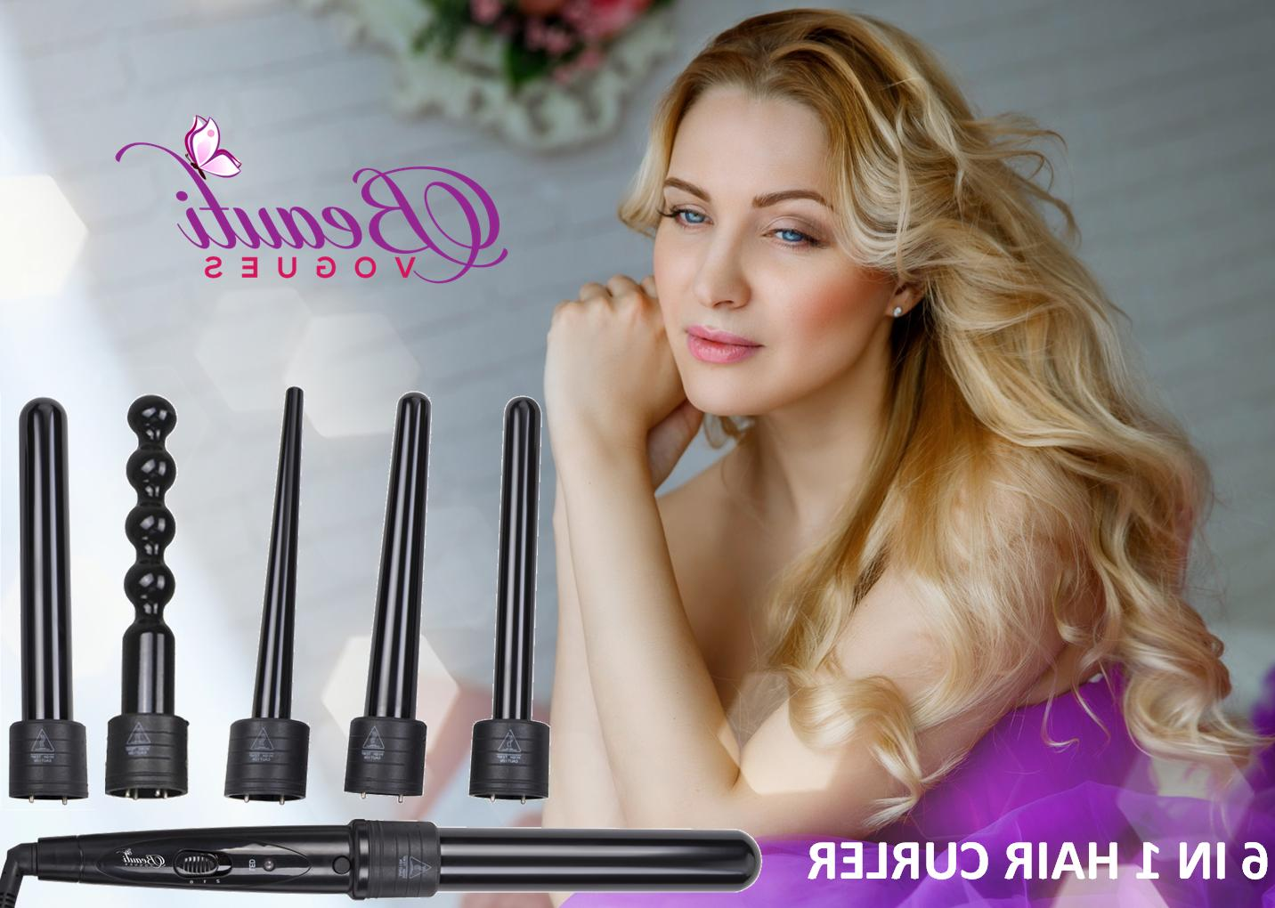 6 in 1 Ceramic Hair Curler Interchangeable Iron Curling Wand Set +