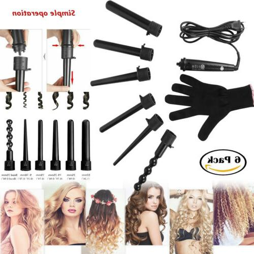 6 in1 LED Ceramic Hair Curler Interchangeable Iron Curling W