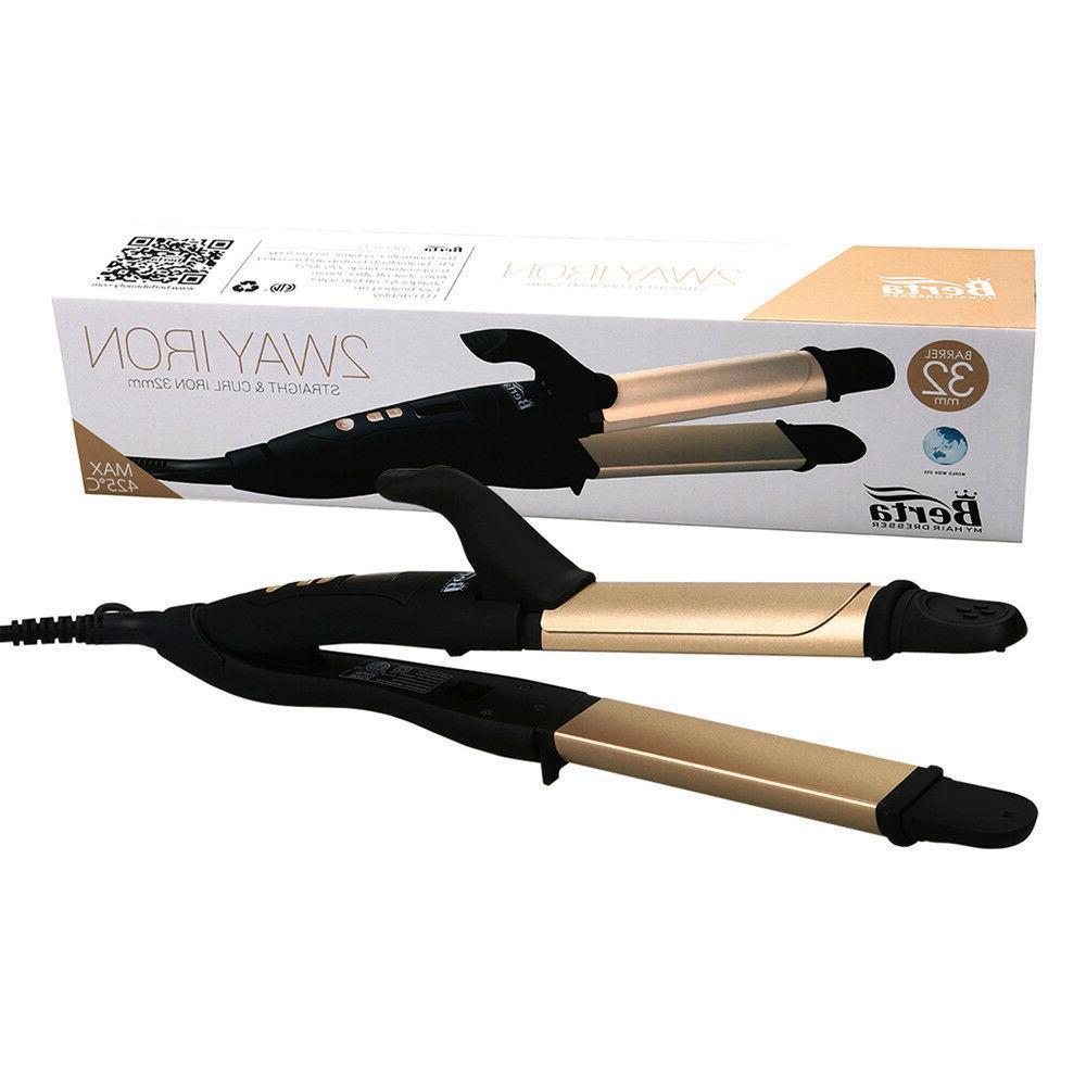 Berta 2in1 & Flat Iron Professional Hair Straightener Gold