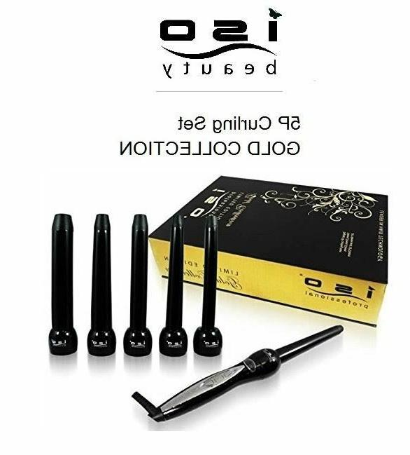 ISO Beauty Authentic NIB 5P Curling Iron Wand Set - GOLD COL