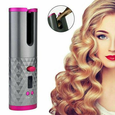 Cordless Automatic Curling Iron Hair Curling Wand 360° Rotating Curler