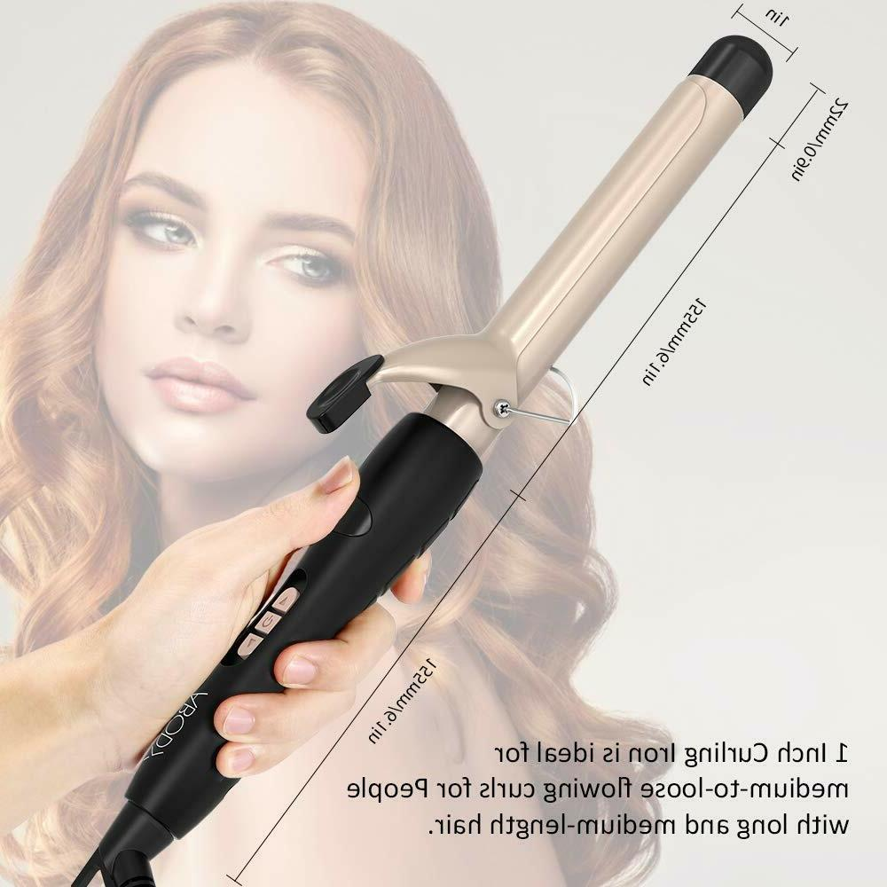 Hair Curling Wand 1 Inch, Iron Ceramic Coating Display,