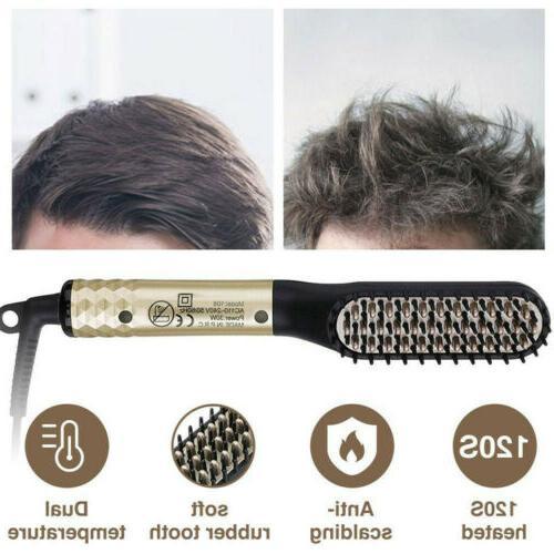 Men's Heated Beard Hair Straightener Comb Curling Iron Elect