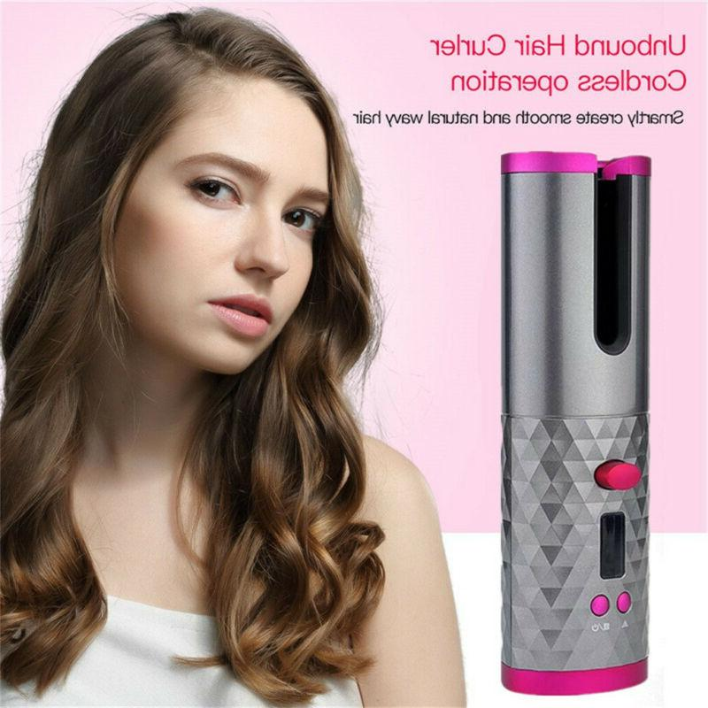 portable cordless hair auto rotating curler hair