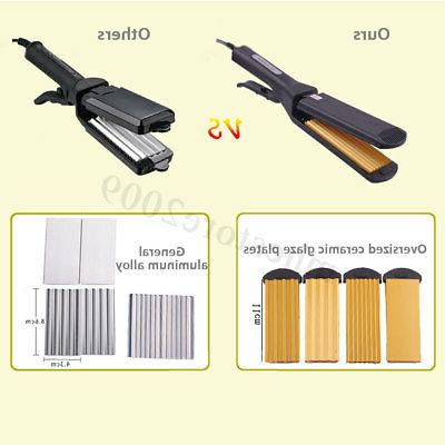 Pro 4 Replaceable Ceramic Curling Crimper Straightener Iron ❤