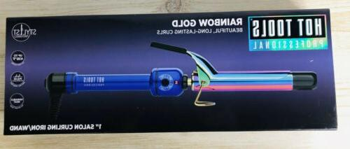 professional 1 inch rainbow gold curling iron