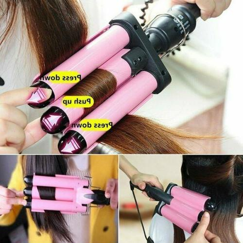 Triple Barrel Ceramic Hair Curling Iron Salon