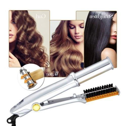 USA Pro 1 2-Way Iron Hair Brush Curler Straightener