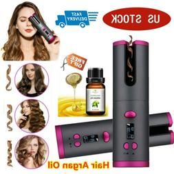 LCD Cordless Auto-rotating Hair Curlers Iron Waver Curling S