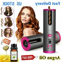 lcd display cordless auto rotating hair curler