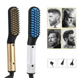 Men's Multi-Function Hair Straightening Brush Beard Comb Cur