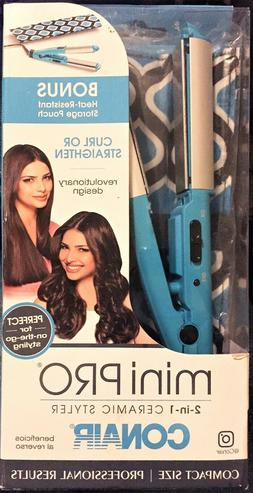New Conair MiniPRO 2-in-1 Ceramic Styler Curl Or Straighten