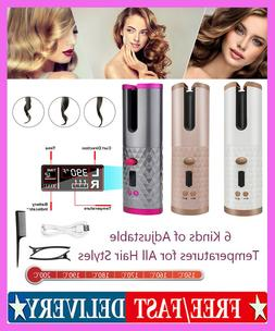Portable Wireless Automatic Curling Iron Hair Curler LCD Cur