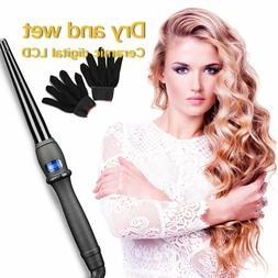 Pro Hair Curling Wand Wave Iron Ceramic Curler Adjustable Te
