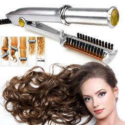 Professional 2-Way Rotating Curling Iron Hot Hair Brush Curl