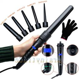 Professional LCD 6-IN-1 Curling Iron Wand Set w/ Temp Contro