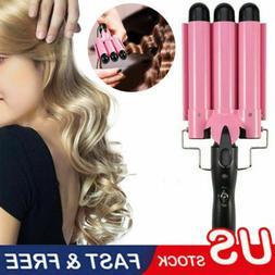 Triple 3 Barrel Ceramic Hair Curler Curling Iron Salon Style