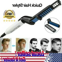 US Men Hair Straightener Curling Irons Brush Multifunctional
